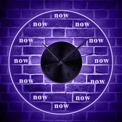 Time is Now Wall Clock Live in the Present Moment Motivational LED Lighted Watch