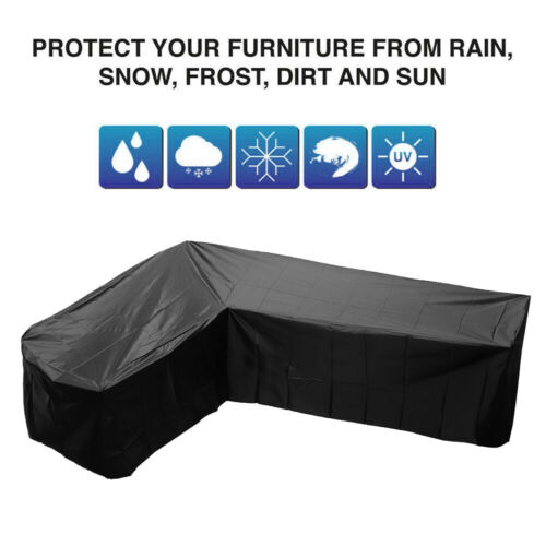 Android Phone - Garden Waterproof Furniture Corner Cover Rattan L Shape Sofa Protector 215cm UK