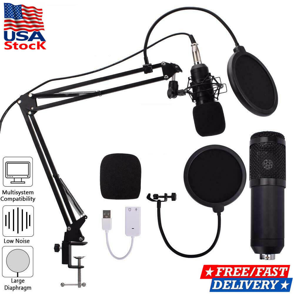 USB Condenser Microphone Mic Kit Stand for Recording Studio