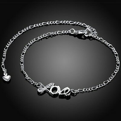 Sterling Silver 925 Love Crystal Anklet Bracelet Adjustable Free Gift Bag