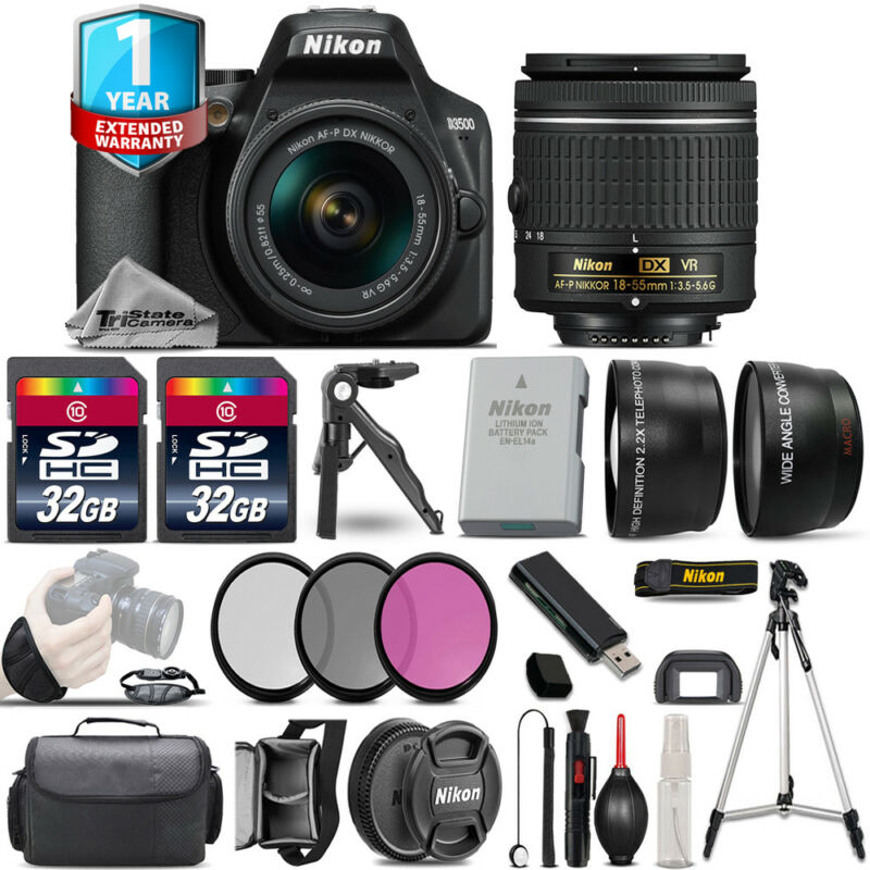 Nikon D3500 DSLR Camera + 18-55mm VR - 3 Lens Kit + 1yr Warranty - 64GB Bundle