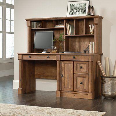 Sauder Palladia Computer Desk With Hutch, Oak