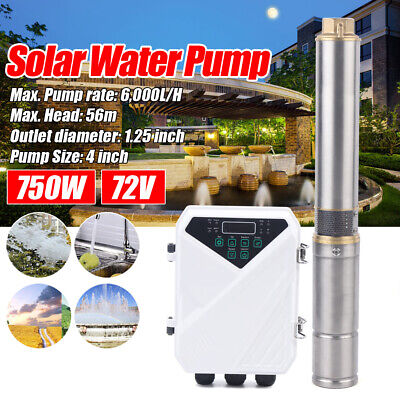4 Dc Solar Water Pump 72v 750w Submersible Mppt Controller Kit Deep Bore Well