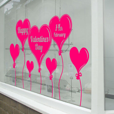 Valentines Day Happy Balloons Shop Window Love Decorations Decal Stickers A331