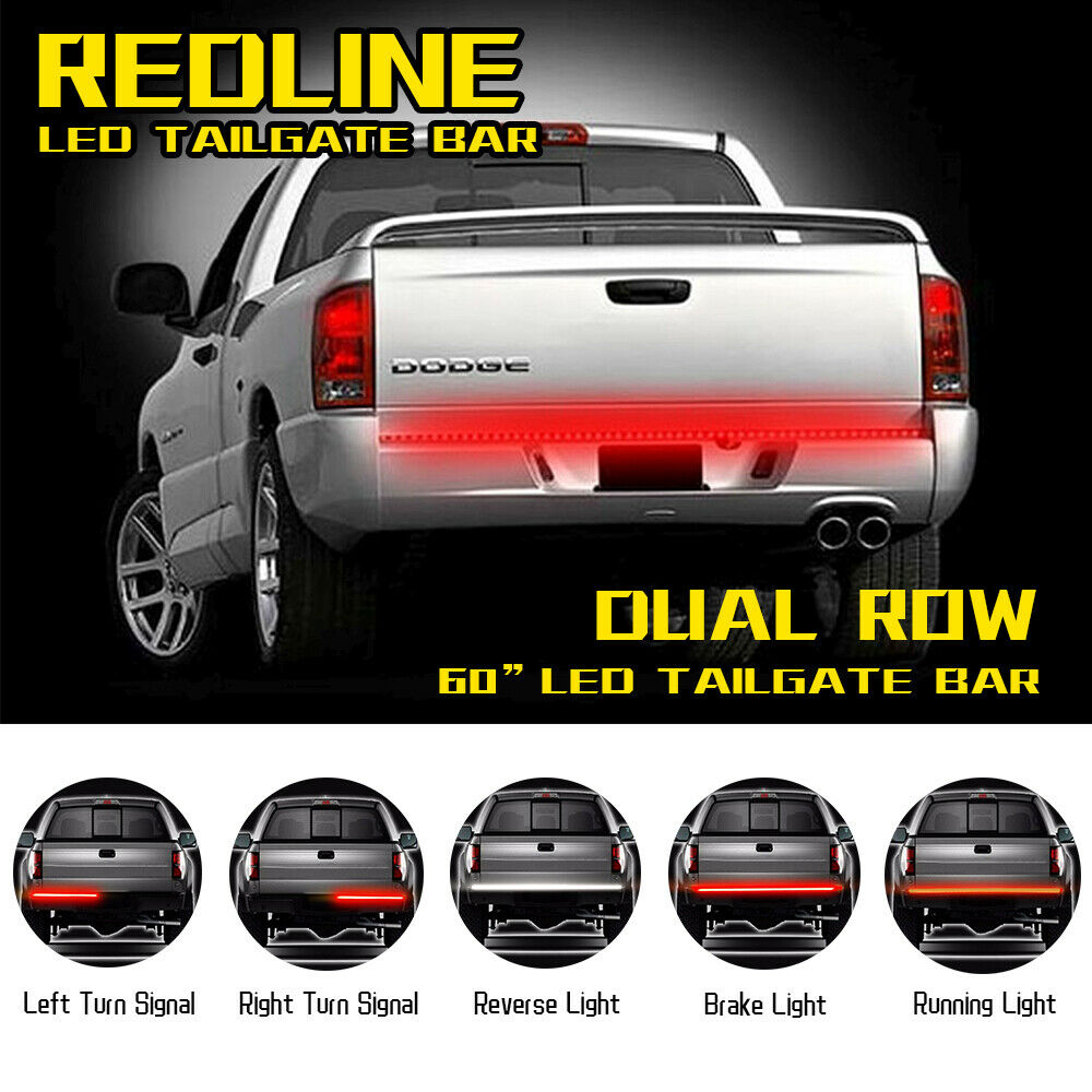 60inch Triple Tailgate LED Light Bar Signal Brake Truck For GMC Sierra 1500 2500