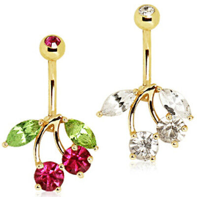 - Gold Plated Cherry Navel Ring