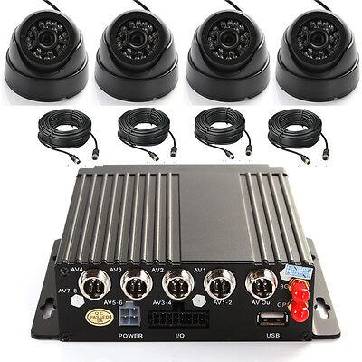 4ch Car Auto Mobile DVR 3G Überwachungstechnik + 4 CCTV Kamera Cable For 128 SD