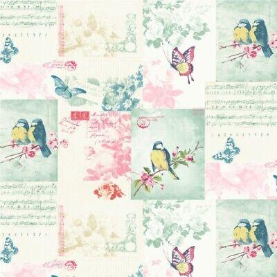 Cheap Shabby Chic Wallpaper - Calligraphy  - Songbirds - Holden Decor - 11260