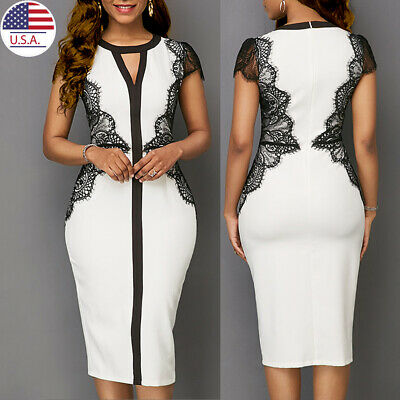 Women Slim Fit Bodycon Long Midi Dress Casual Sleeve Evening Party Cocktail Club