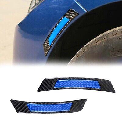 2pcs Blue Fender Trim Stickers Protector Car Wheel Eyebrow Strips Carbon Fiber