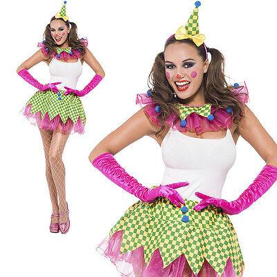 Clown Satz 3 Stück Grün Gelb & Pink Tutu Rock Kragen & Spitz Mütze Stirnband (Tutu Clown Kragen)