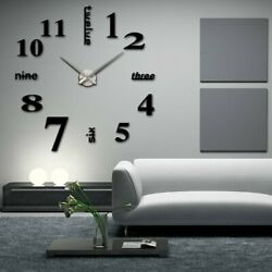 Elikeable Modern 3D Frameless Large 3D DIY Wall Clock Watches Hours DIY Decora..