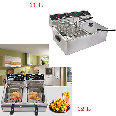 6l11l12l Electric Countertop Deep Fryer Dual Tank Commercial Restaurant Steel