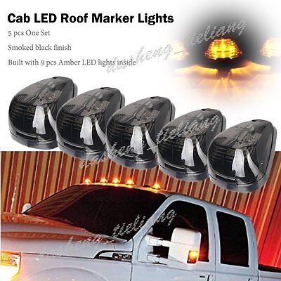 5Pcs Amber Led Smoke Roof Cab Running Marker Lights For Truck Suv Off Road 4X4