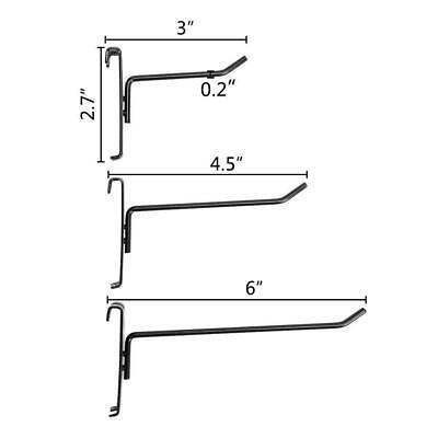 18 Pc Gloss Black Long Grid Wall Metal Hooks Display Gridwall Panels 3 4.5 6