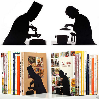 Bookend x 2 Home Office Decor Fynky Library Gifts Spy Love Food Book NEW Disply