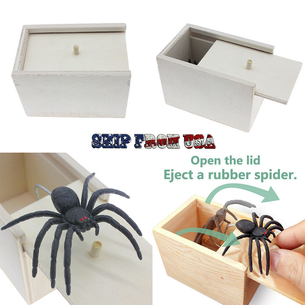 Spider Gift Box Fake Rubber Toy Scare April Fool's Day Joke Trick Prank party Greeting Cards & Party Supply