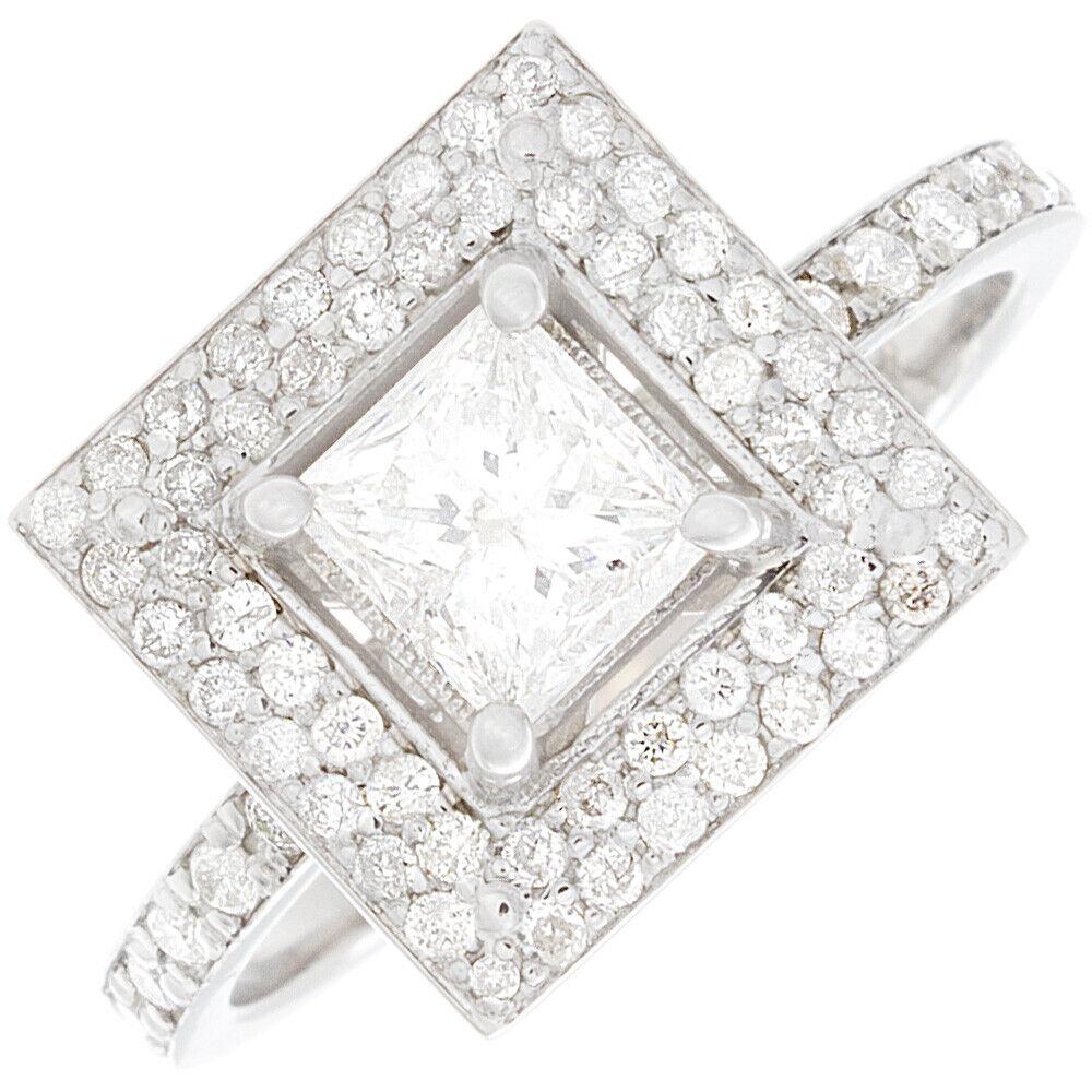 GIA Certified Diamond Engagement Ring 2.05 Carat Princess Cut 14k White Gold