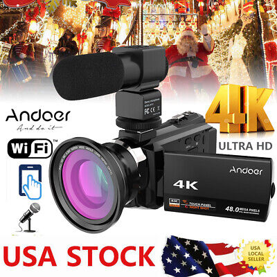 WiFi 4K ULTRA HD 48MP 1080P Digital Video Camera Recorder Camcorder DV+ Lens Mic