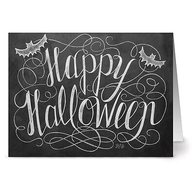 24 Chalkboard Note Cards - Happy Halloween - Kraft Envs