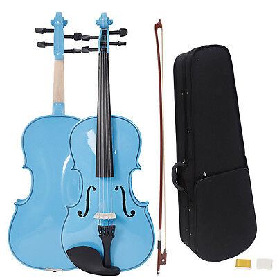 New Student Blue Adult Acoustic Viola with Case Rosin Bow 16