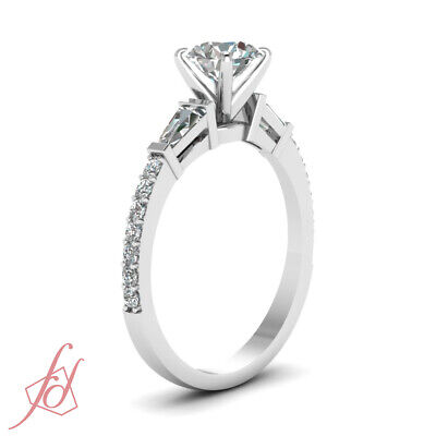1.25 Carat Round Cut And Baguette Diamond 3 Stone Engagement Rings Pave Set GIA 2