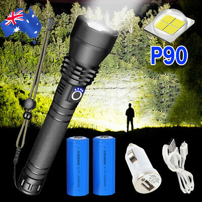 120000LM XHP90 LED Tactical Flashlight Rechargeable Zoom Camping Hunting Torch