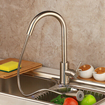 Single Hole Mount Kitchen (US Single Hole Mount Kitchen Sink Mixer SS Faucet Pull Out Swivel Nickel Taps )