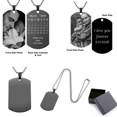 Personalized Engraved Custom DIY Photo Picture Dog Tags Pendant Necklace Gift US