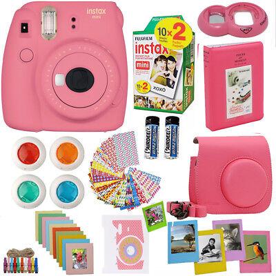 Fujifilm Mini 9 Instant Camera Flamingo Pink + 20 Sheets 10 Accessory Bundle