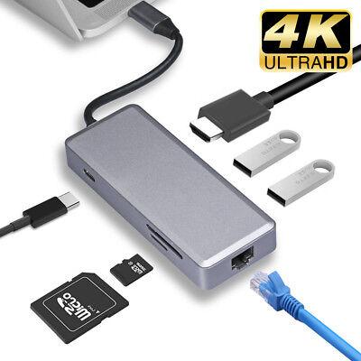 7in1 USB-C Video Hub Sort-C to 4K HDMI Dual USB3.0 LAN Adapter TF SD Card Reader
