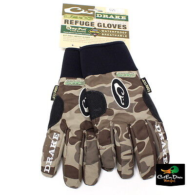 DRAKE WATERFOWL EST GORE-TEX REFUGE GLOVES OLD SCHOOL TIMBER CAMO SMALL ()