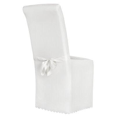 Stuhlhusse Stuhlüberzug Stuhlbezug Stuhl Hussen Bezug mit Schleife Hochzeit weiß