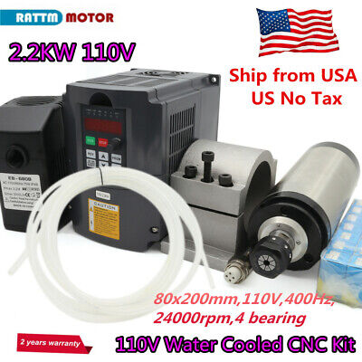 Usa2200w Water Cooled Spindle Motor 2.2kw Inverter 110vclamppumpcollet Cnc