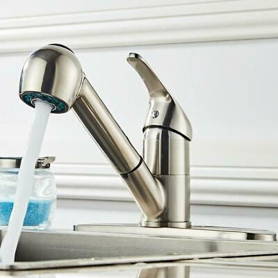 Brushed Nickel Kitchen Faucet Swivel Spout Pull-Out Spray Single Hole Mixer Tap