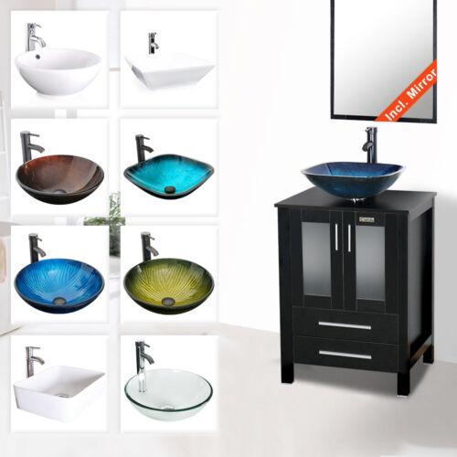 "24"" Black Bathroom Vanity With Vessel Sink Set Cabinet  Faucet Drain Combo"