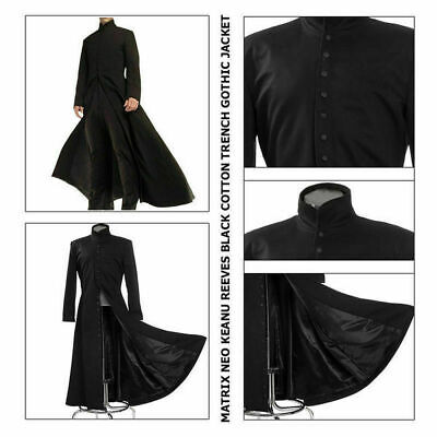 Matrix Neo New Men's Cotton Coat Keanu Reeves Black Trench Gothic Jacket