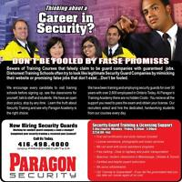 Paragon is Now Hiring.  Security Training Weekly in Mississauga