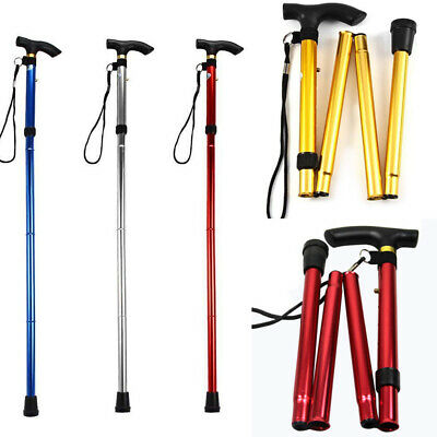 Adjustable Folding Collapsible Hiking Climb Rod Walking Stick Metal Cane Supply