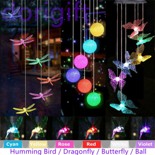 Color-Changing Outdoor LED Solar Powered Wind Chime Light Yard Garden Decor gift Décor