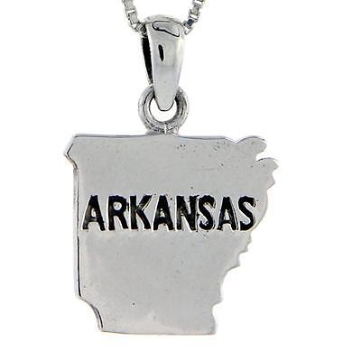 "Sterling Silver Arkansas State Map Pendant / Charm, 18"" Italian Box Chain"