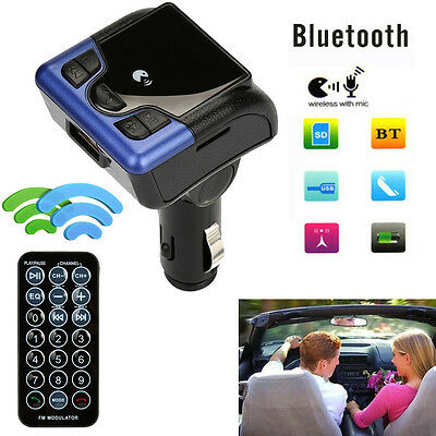 Car Bluetooth Wireless FM Transmitter AUX Radio Adapter MP3 Handsfree Call BU