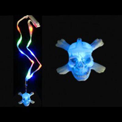 Cute Halloween Flash (Flashing LED LightUp Skull N Crossbones HALLOWEEN Lanyard Necklace -)