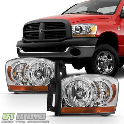 2006-2008 Dodge Ram 1500 2500 3500 Chrome Bezel Headlights Headlamps Left+Right