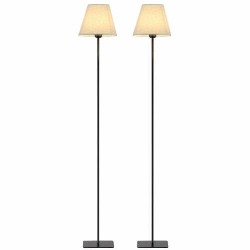 2 Set Modern Tall Floor Lights with Fabric Shade Reading Sta
