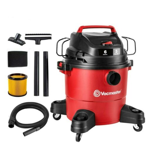 Vacmaster 6 Gallon Wet Dry Vacuum Cleaner Car Shop 3 Peak HP | 1-1/2 inch Hose