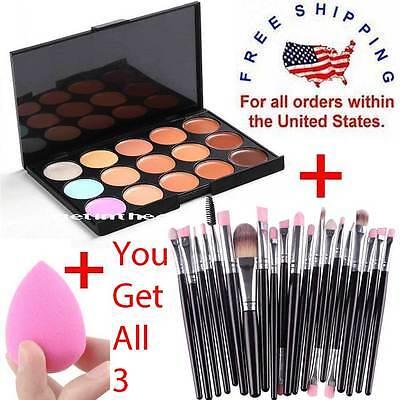 Makeup Contour Face Cream CONCEALER Palette 15 Color + 20PC Brushes SILVER PINK -