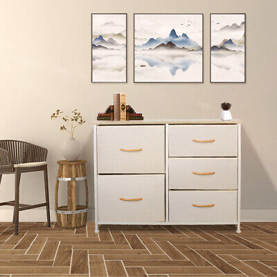 Storage Cabinet With 5 Drawers 2 Style Baskets Home Office Side Metal Frame Furniture Storage Baskets