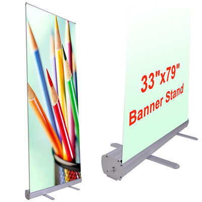 Aluminum 33 X79  Retractable Roll Up Banner Stand Pop Up Trade Show Display