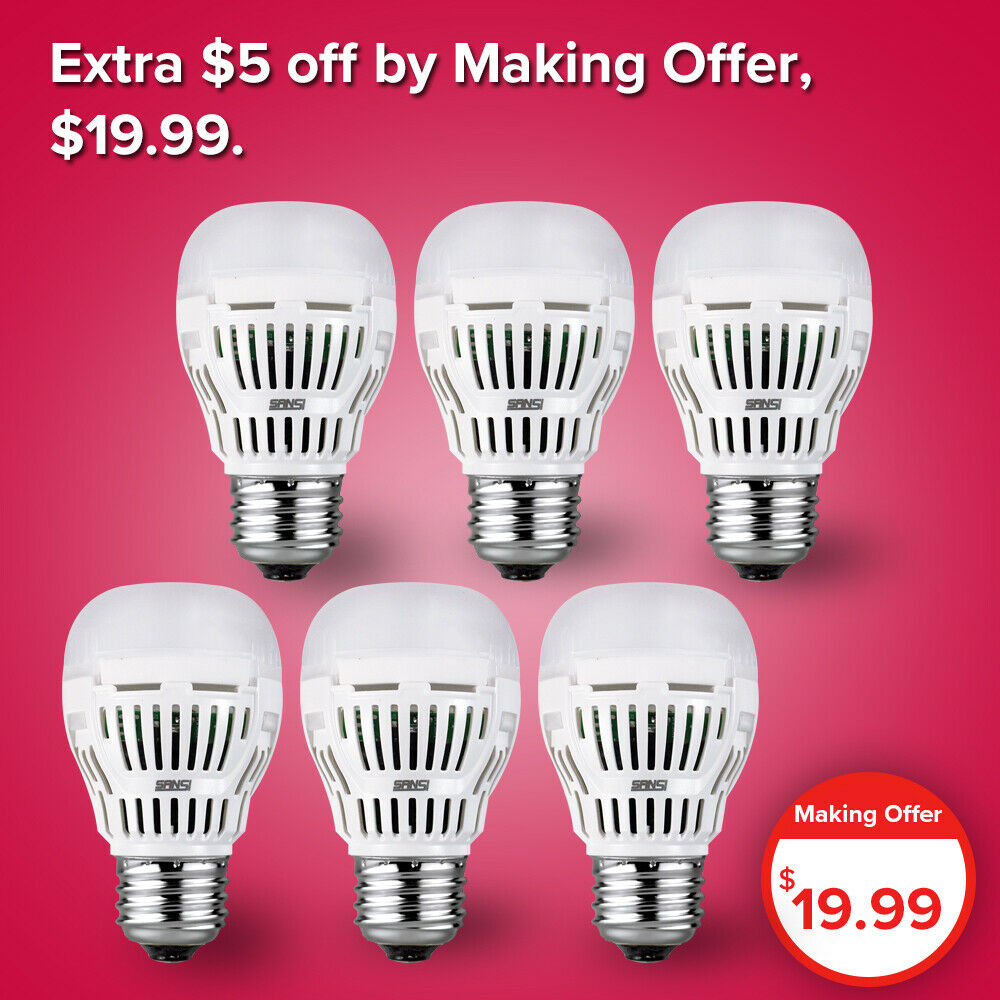 SANSI 80W Equiv. 6-Pack LED Light Bulb 8W 5000k Daylight Coo
